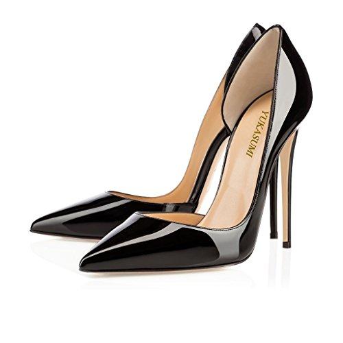 EDEFS Damen Faschion 120 High Heels Schuhe Große Größe Pumps Einfach Stil Spitze Zehen Hand gemacht Stiletto Büro-Dame Party Hochzeit Schwarz