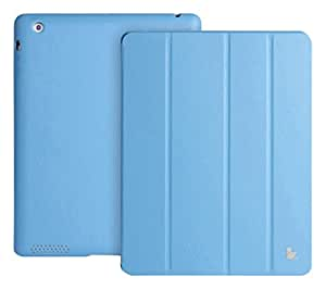 Jisoncase Premium Leather Cover for iPad 2 3 4 Case/Shield/Protector High Quality Magnetic Smart Cover for iPad 2 3 4 Blue+Tan Color JS-IPD-06H40