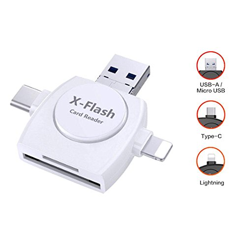 r, 4-in-1-SD-Kartenleser-Set, Micro SD, USB-C, Kartenadapter, für iPhone, iPad, Android Apple Mac, kompatibel mit Lightning, Micro USB, USB Typ C weiß ()