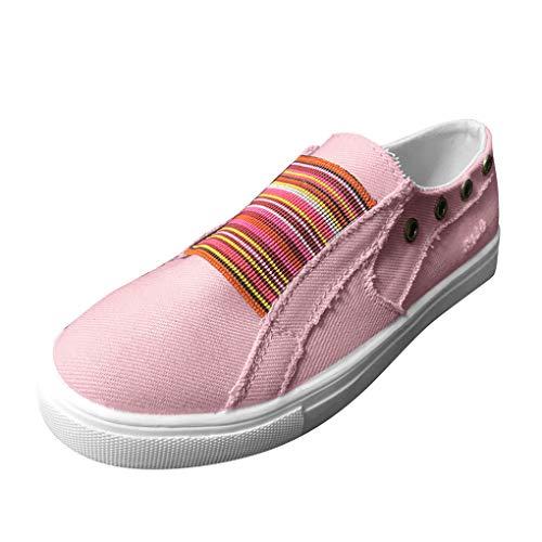 Low Übergrößen Sportschuhe für Damen/Dorical Frauen Slip on Canvas Sneakers, Casual Turnschuhe, Bequeme Outdoor Fitnessschuhe, Leichte Halbschuher Damenschuhe 35-43 EU Ausverkauf(Rosa,35 EU)