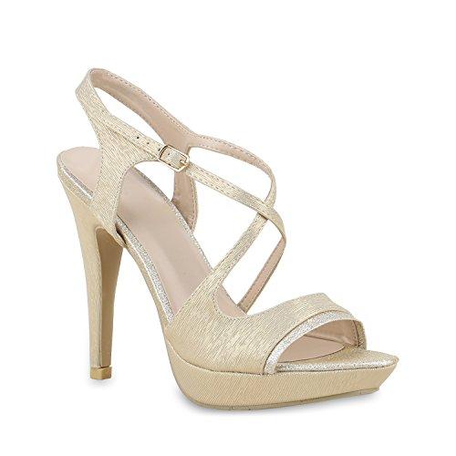 Elegante Damen Sandaletten High Heels Braut Party Animal Print Plateau Schleifen Abschlussball Schuhe 129995 Gold 40 Flandell