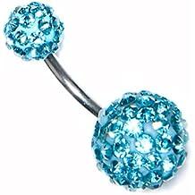 Shamballa Barre pour piercing du nombril à strass en acier chirurgical Motif boule à facette/bleu