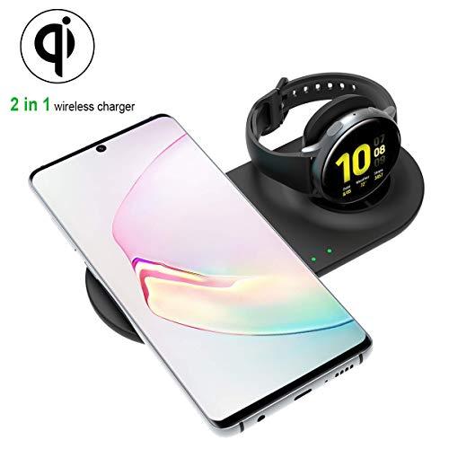 Aimtel Ladestation Kompatibel mit Samsung Galaxy Watch Wireless Charger ,Qi-zertifiziert Drahtloses Ladegerät für Qi-fähige Telefone und Galaxy Watch 42mm 46mm Active Active 2(ohne Adapter)