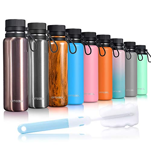 ARTEESOL Edelstahl Trinkflasche, Wasserflasche 500/750/1000 ml Water Bottle doppelwandig Wide Mouth Design Ökofreundlich & BPA frei Outdoor Sports Gym Workout Wandern Camp & Office (Rosegold, 1000ml)
