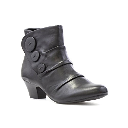 Lotus Womens Black Leather Ruched Ankle Boot - Size 5 UK -...