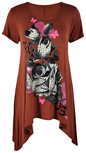 New Womens Plus Size Cap Sleeve Hanky Hem Glitter Floral Butterfly Tops 8-26 ( Rust , UK 8-10 / EU 36-38 ) (Plus Size T-shirt Sleeve Cap)