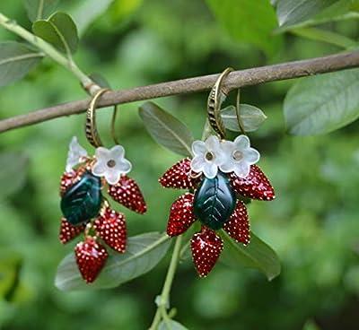 Boucles d'oreilles fraise sauvage - bijoux féerique mignon de la forêt - fruits de la jardin