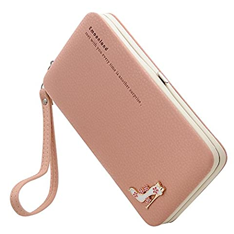 Ladies Purses Wallet,Phone Clutch Purse Mobile Phone Bag Wristlet Wallet Large Capacity with Hand Wrist for iPhone 7/7Plus 6S/ 6S Plus /6 /6 Plus/5/5C Samsung Galaxy S6/S6 Edge by Emoonland (Pink)
