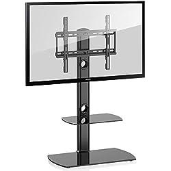 FITUEYES Meuble Télé Pied Support Pivotant pour TV Ecran de 23 à 50 Pouces LED LCD Plasma avec 2 Etagères en Verre Trempé TT206501GB