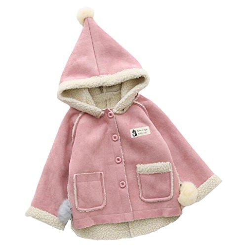 Longra Baby Kinder Mädchen Winddicht Übergangs jacken Draussen Kapuzenjacke für Mädchen Wintermäntel Winterjacke Softhelljacke Windbreaker Jacke Outwear Parka (0-5Jahre) (80CM 12Monate, Pink) (Faux Rabbit)