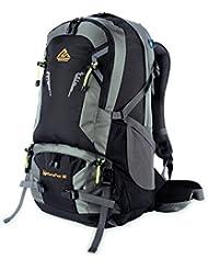 NatureFun Mochila con sistema de marco externo de 50L resistente al agua para viajar, acampar, excursionar, escalar con cubierta para la lluvia, para laptops (Negro)