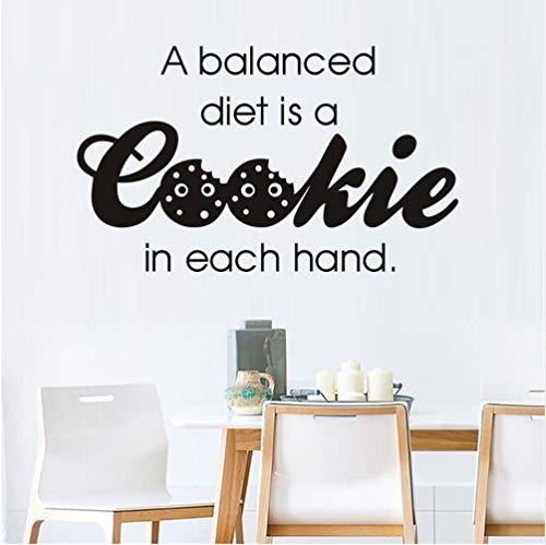 Eine Balance-Diät ist ein Cookie in jeder Hand Art Words Wandaufkleber abnehmbare Vinyl Aufkleber selbstklebende Tapete Küche Dekor 35 * 59cm