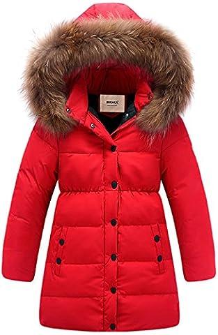 ZOEREA Kinder Junge Mädchen Daunenjacken Wasserabweisend Daunenmantel Fashion Lang Kälteschutz Warm mit Kapuze (Rot