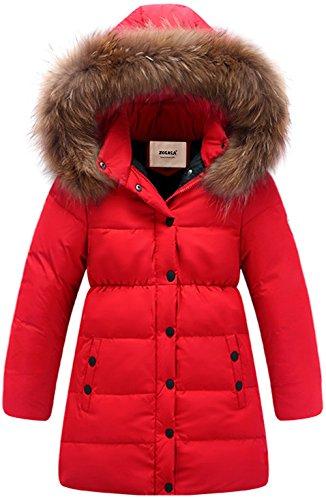 ZOEREA Kinder Junge Mädchen Daunenjacken Wasserabweisend Daunenmantel Fashion Lang Kälteschutz Warm Verdickte Winterjacke mit Kapuze (Rot, Körpergröße 105-115CM)