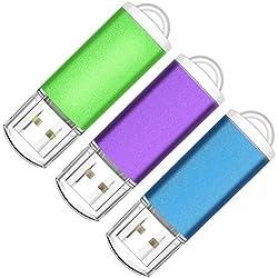 Kootion Pendrive 32GB 2.0 Memoria USB Flash Drive Pen Stick de Colores con Indicador LED para Ordenador, Computadora, Pack de 3 Unidades, Azul, Verde, Púrpura