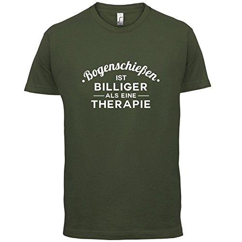 Bogenschiessen ist billiger als eine Therapie - Herren T-Shirt - 13 Farben Olivgrün