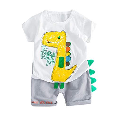 Huhu833 Baby Kleidung Set Junge, 2 stücke Sommer Kleinkind Kinder Baby Jungen Cartoon Dinosaurier Tops Kurze Ärmel Patchwork T-Shirt + Shorts Hose Outfits Set (Weiß, 3-6Monate) (Baby-kostüm Ideen Jungen Für)