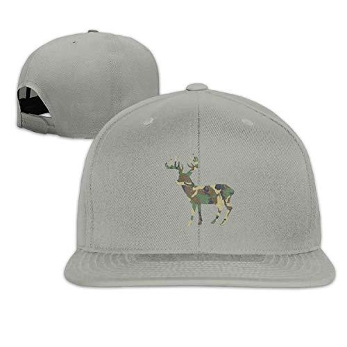 Camouflage Camo Deer Snapback Hat Adjustable Solid Flat Bill Baseball Cap Mens (Camo Cap Flat Bill)