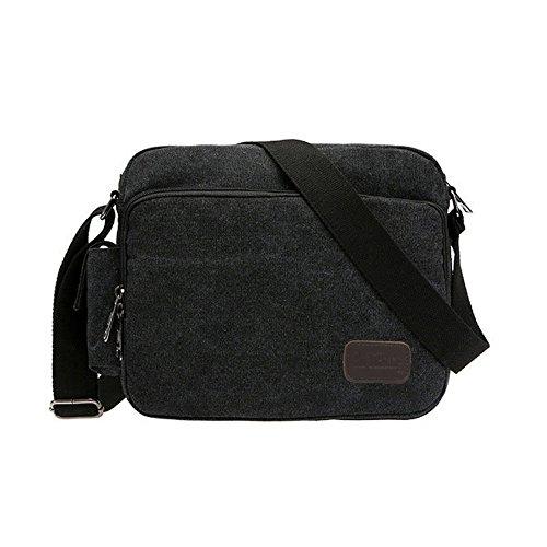 SHABEI Borse a Tracolla Uomo di Tela Borsa a Spalla Vintage Messenger Bag Canvas Sacchetto per Scuola Sport Outdoor il tempo libero Sportive Nero
