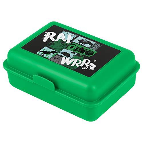 Baagl Brotdose Kinder mit Fächern - Lunchbox mit Trennwand für Schule und Kindergarten - Jausenbox mit Unterteilung für Jungen (Dino)