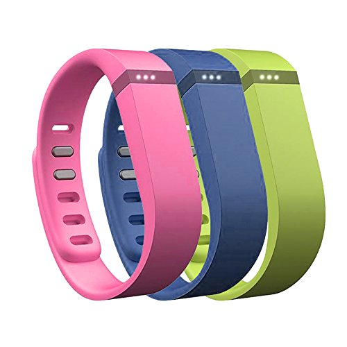 AFUNTA Set Large L 1pc Navy (Blue) 1pc Lime (Green) 1pc Purple (Purple/Pink) Replacement Bands with Clasps for Fitbit FLEX Only /No tracker/ Wireless Activity Bracelet Sport Wristband Fit Bit Flex Bracelet Sport Arm Band Armband