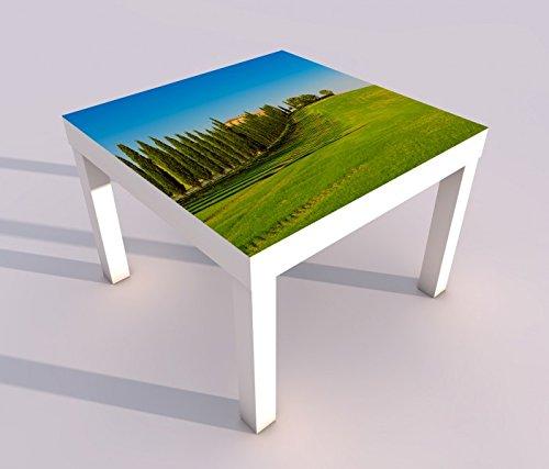 Design - Tisch mit UV Druck 55x55cm Landschaft Baum Bäume Hügel Toskana Italien Vintage Spieltisch Lack Tische Bild Bilder Kinderzimmer Möbel 18A2570, Tisch 1:55x55cm