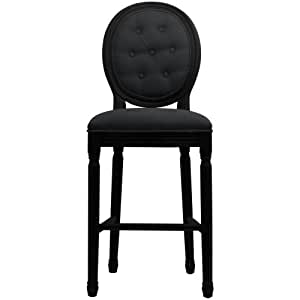 Tabouret chaise de bar lin capitonné noir Médaillon Louis XVI