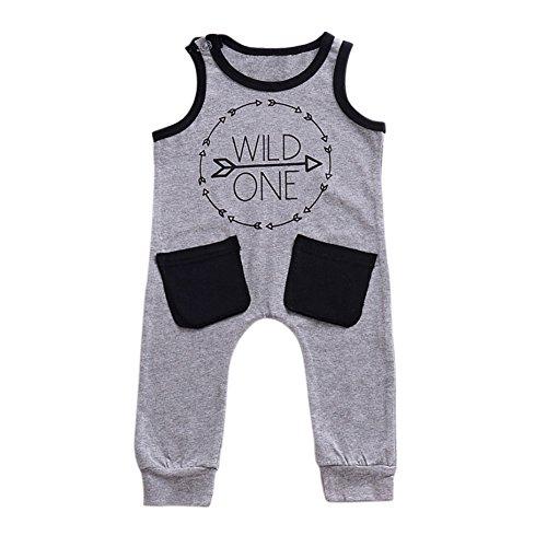 Baby Infant Boy Sleeveless Spielanzug Wild One Printed Taschen Overall One Piece Bodysuit für 6 Monate bis 3 Jahre alt