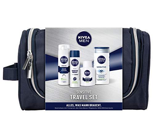 NIVEA MEN Sensitive Reiseset, Kulturtasche für Männer mit Anti-Transpirant, Pflegedusche, Rasierschaum und After Shave, Geschenkset für den gepflegten Mann - Nivea Men Lotion