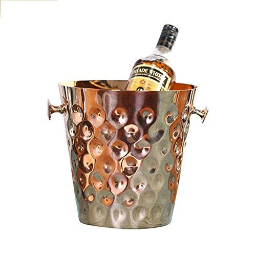 FTC Ice Bucket Eiskübel Edelstahl Hammerspitze Gold Roségold Eiskübel Roségold 23x23x23cm, Roségold