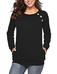NICIAS Damen Langarmshirt Pullover Lässige Rundhals Sweatshirt Schaltflächen Hemd T Shirt Bluse Tunika Top mit Taschen
