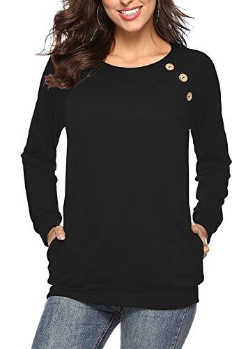 NICIAS Damen Langarmshirt Pullover Lässige Rundhals Sweatshirt Schaltflächen Hemd T Shirt Bluse Tunika Top mit Taschen Schwarz L