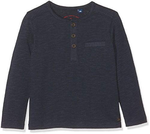 TOM TAILOR Kids Baby-Jungen Langarmshirt Fabric Mix Henley, Blau (Real Navy Blue 6593), 62