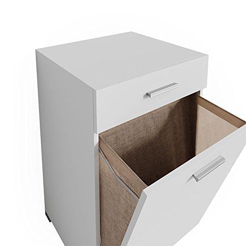 Vicco Wäschekorb Matteo Weiß Waschmaschinenschrank Badschrank Wäscheschrank