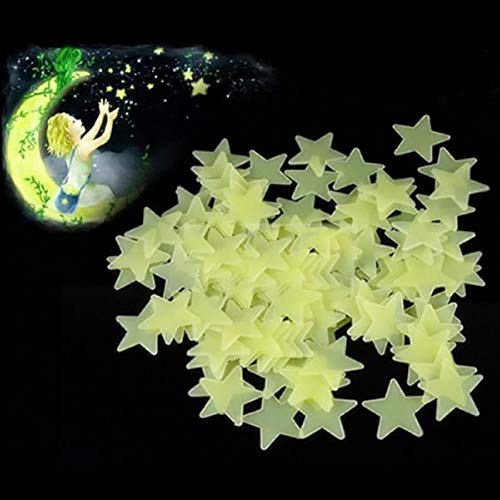 100 UNIDS 3 CM Luminoso Estrella Etiqueta La Pared