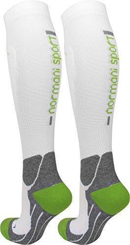 normani Coolmax Sport Kompressionsstrümpfe mit Frotteesohle und anatomisch angeordneten Polsterzonen Farbe Weiß/Grün Größe 43/46