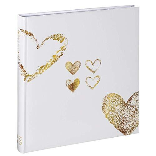 """Hama Fotoalbum """"Lazise"""" (Fotobuch mit 50 weißen Seiten, für 250 Fotos im Format 10x15, z.B. für Hochzeit oder Jubiläum, Herz Motiv, 29x32cm) Bilderalbum gelb-gold"""