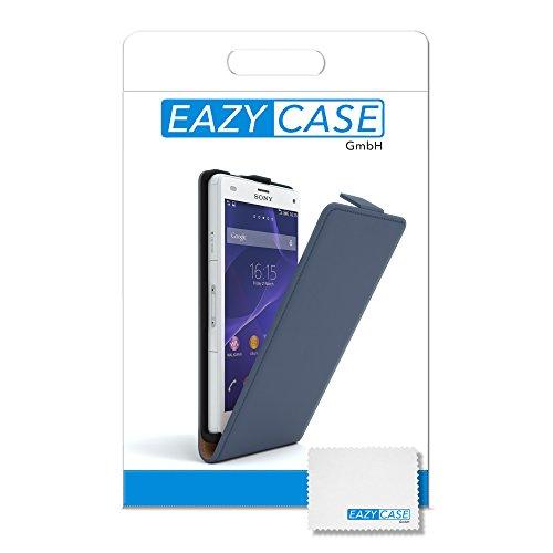 Sony Xperia Z3 Compact Hülle - EAZY CASE Premium Flip Case Handyhülle - Schutzhülle aus Leder in Braun Dunkelblau (Flip)