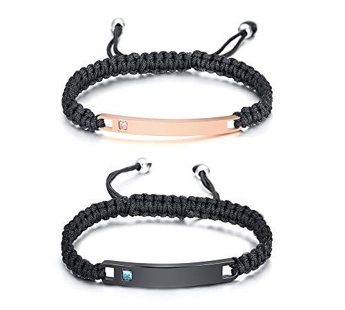 sierte Benutzerdefinierte Gravur passende Paare Bar Armbänder, String Macrame ID Armbänder für Männer Frauen ()
