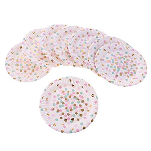 Sharplace 10pcs Assiette Papier Jetable Motif Pois Rond Etoile Vaisselle Baby Shower Mariage Dia.18cm - Rose Vert