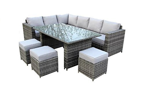 Yakoe Papaver Serie Wintergarten Outdoor 9 sitzer Ecksofa Poly Rattan Lounge Set Gartenmöbel Terrasse, Grau, 182 x 70 x 70 cm