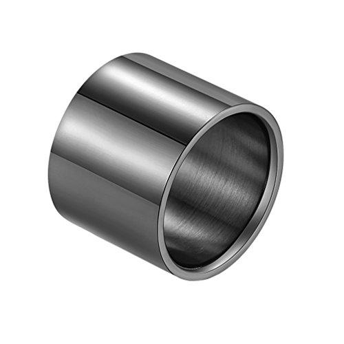 PAURO Herren 18mm Breiten Poliert Ring aus Edelstahl Rohr Schneiden Flachen Einfach Schwarz Größe 72 (22.9) - Schneiden Schwarzes Rohr