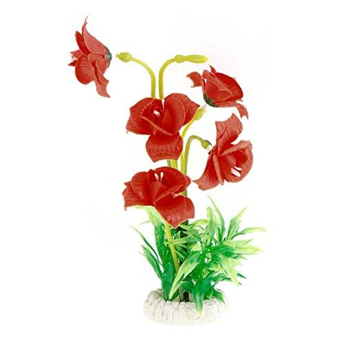 Sellify Plastic Aquarium Artificial Flower Decoration, Green/Orange