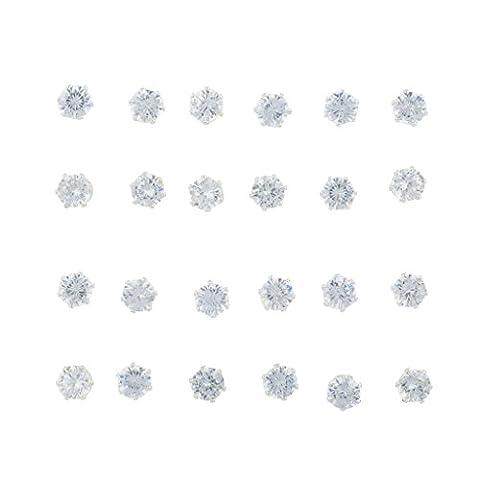 Lux Accessoires Argenté Cristal Solitaire Pierre Multi Boucles d'oreilles Lot de 12PC