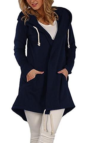 ECOWISH Strickjacke mit Kapuze Damen Wintermantel Pulli Parka Kapuzenpullover Mantel Navy Blau L