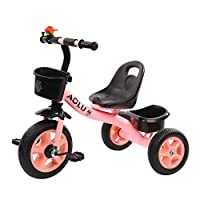 BABYGAMK Children Toddler Tricycle Pink Tricycles for Girls, Trike for Kids Age 2/3/4/5/ Years Old Children, 3 Wheeler Bike Pedal Ride On, Adjustable Seat (Color : Pink , Size : 60*48*53cm )