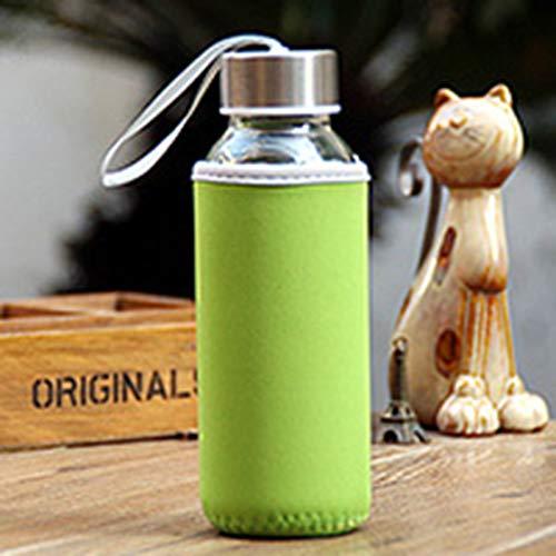 LouiseEvel215 Botella de agua de Cristal del Borosilicate de la Botella de Cristal 300ml Con la Botella portátil de la bebida del viaje del bolso del paño