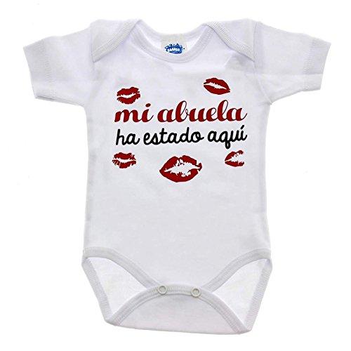 Bauba Body manches courtes 0 – 3 mois « Mi abuela ha estado aquí » (en langue étrangère)