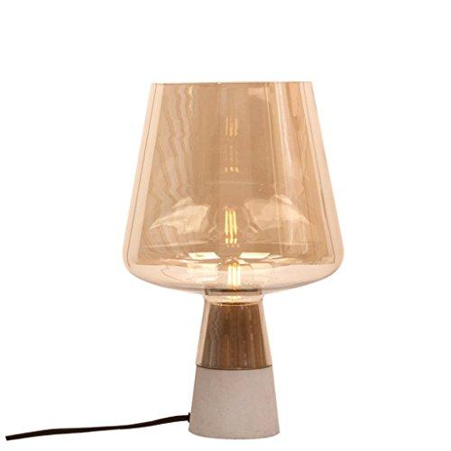 ZYN Tischlampe Nordeuropa Glas Schreibtischlampe Ein Wohnzimmer Schlafzimmer Nachttisch Lernraum Tischlampe (Farbe : Cognac Coloured Glass) (Art Glass Vintage Tisch Lampe)