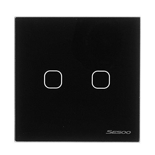 Preisvergleich Produktbild LaDicha Sesoo Sy6-02-D Eu/Uk Standard 2 Gang 1 Way Rf433 Remote Smart Wall Switch Drahtlose Fernbedienung Schalter Arbeiten Mit Broadlink Rm Pro - Schwarz